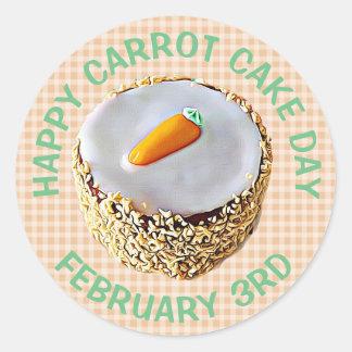 Nationaler Karottenkuchen-Tagesam 3. Februar Runder Aufkleber