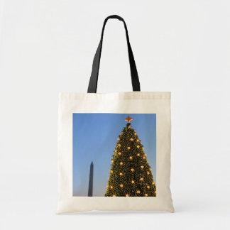 Nationaler Weihnachtsbaum und Washington-Monument Tragetasche