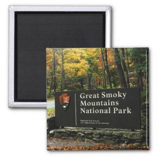Nationalpark-Herbst-Zeichen Great Smoky Mountains Quadratischer Magnet