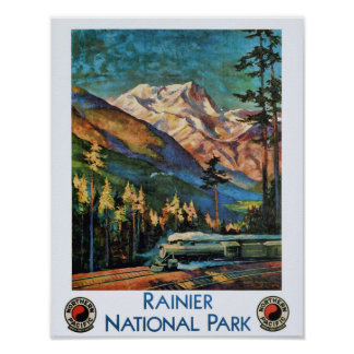 Nationalpark-Vintager Zug des Mount Rainier Poster