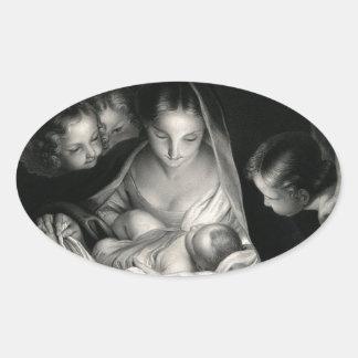 Nativity-Baby-Jesus-Jungfrau-Mary-Engel Ovaler Aufkleber