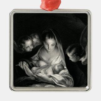 Nativity-Baby-Jesus-Jungfrau-Mary-Engel Quadratisches Silberfarbenes Ornament