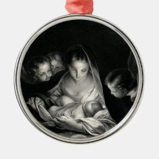 Nativity-Baby-Jesus-Jungfrau-Mary-Engel Rundes Silberfarbenes Ornament