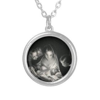 Nativity-Baby-Jesus-Jungfrau-Mary-Engel Versilberte Kette