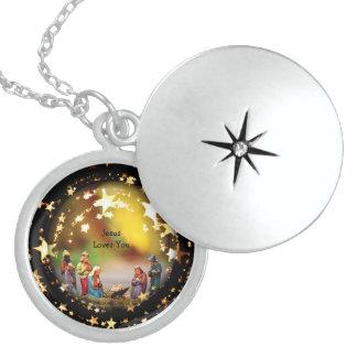 Nativity-Baby-Jesus-Jungfrau-Mary-Krippe addieren Sterling Silberkette