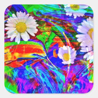 Natur Abstrakt Gänseblümchen Quadratischer Aufkleber