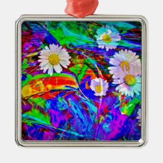 Natur Abstrakt Gänseblümchen Quadratisches Silberfarbenes Ornament