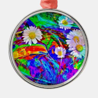 Natur Abstrakt Gänseblümchen Rundes Silberfarbenes Ornament