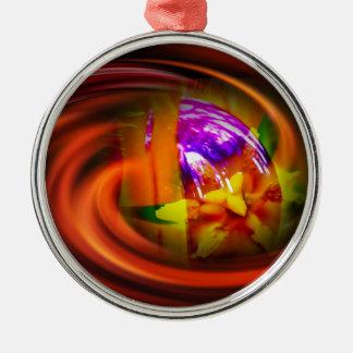 Natur Abstrakt Glaskugel Rundes Silberfarbenes Ornament