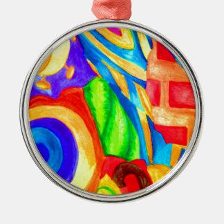 Natur-Collagen-Malerei Rundes Silberfarbenes Ornament