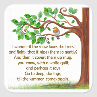 Natur-Gedicht Quadratischer Aufkleber