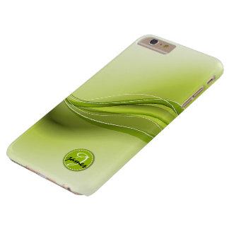 Natur-grünes modernes Wellen-Monogramm Barely There iPhone 6 Plus Hülle