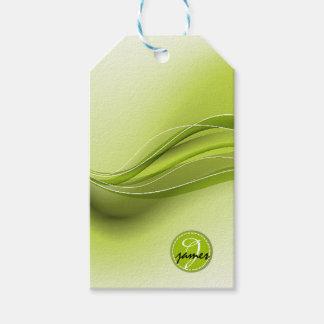 Natur-grünes modernes Wellen-Monogramm Geschenkanhänger