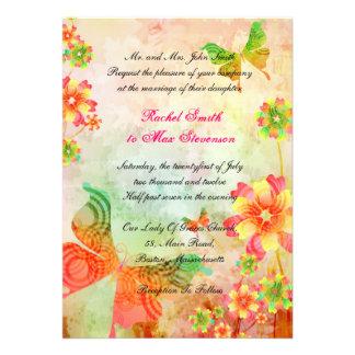 Natur-Kunst-Blumenhochzeits-Einladung