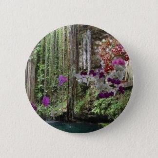 Natur mit Orchideen Runder Button 5,7 Cm