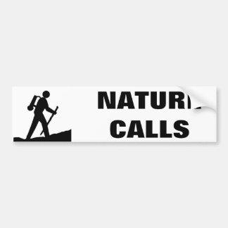 Natur nennt Strichmännchen-Cartoon Autoaufkleber