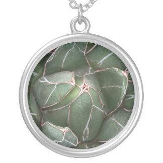 Natur-Pflanzemandala-Aloe-Pflanzen-runde Halskette
