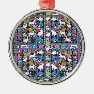 Natur-wilde Tier-Vogel-Fisch-Insekten NVN709 Rundes Silberfarbenes Ornament