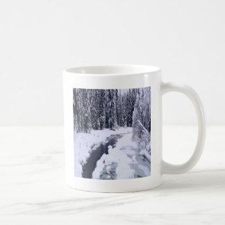 Natur-Wintersnowy-Fluss Kaffeetasse