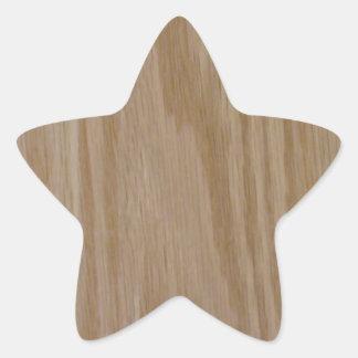 Natürliche Eiche (Fotodruck von) Stern-Aufkleber