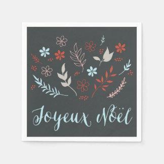 Natürlicher Noël Weihnachtsfeiertag im Schiefer Papierserviette