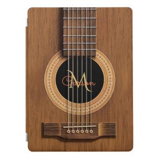 Natürliches hölzernes Akustikgitarre-Monogramm iPad Pro Hülle