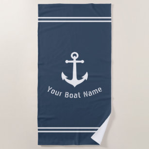 Nautical Vintag Anchor Boat Name Navy Blue Grau Strandtuch
