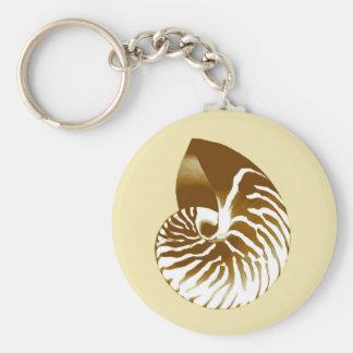 Nautilus-Muschel - Braun, Weiß und Beige Schlüsselanhänger