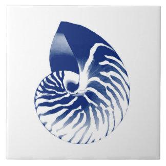 Nautilus-Muschel - Marineblau und -WEISS Fliese