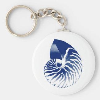 Nautilus-Muschel - Marineblau und -WEISS Schlüsselanhänger