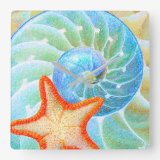 Nautilus und Starfish Quadratische Wanduhr