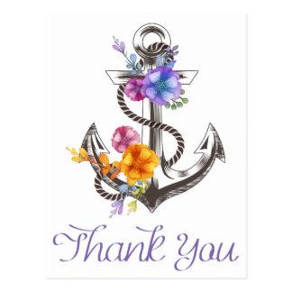 Nautisch danke Boots-Anker-Blumenpostkarte Postkarte