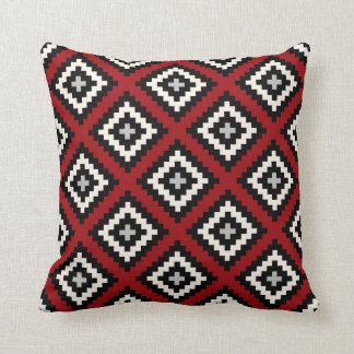 Navajo geometrisch im roten schwarzen Grau Kissen
