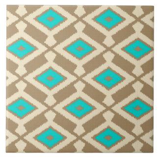 Navajo Ikat Muster - Türkis, Taupe und Beige Keramikfliese