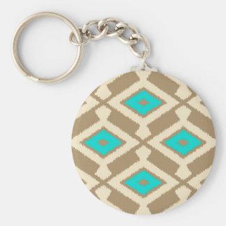 Navajo Ikat Muster - Türkis, Taupe und Beige Schlüsselanhänger