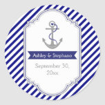 Navy blue anchor nautical wedding Save the Date Round Stickers