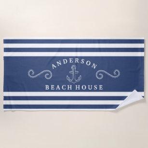 Navy & White Personalisiert Nautical Beach House Strandtuch