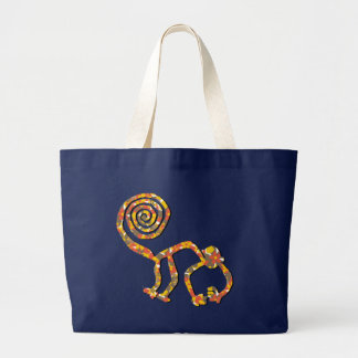 Nazca Affe in Blume 2 Jumbo Stoffbeutel