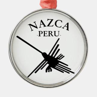 Nazca Peru Kolibri mit gebogenem Text Silbernes Ornament