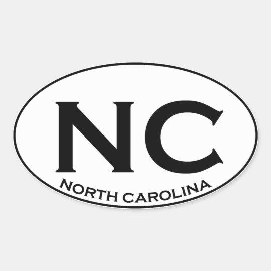 NC - North Carolina Ovaler Aufkleber