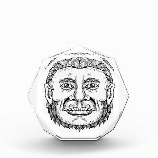 Neanderthal-männliche Hauptgekritzel-Kunst Auszeichnung