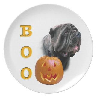Neapolitanischer Mastiff-HalloweenBOO Melaminteller