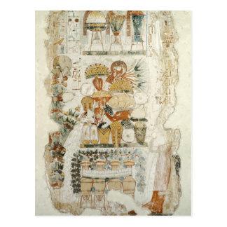 Nebamun, das Angebote von seinem Sohn empfängt Postkarte
