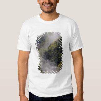 Nebel, der vom Bergabhang nach Frühlingsregen Shirts