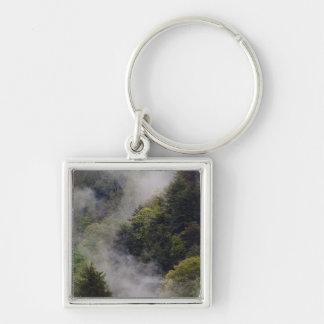 Nebel, der vom Bergabhang nach Frühlingsregen stei Silberfarbener Quadratischer Schlüsselanhänger