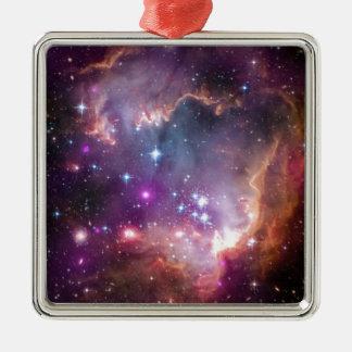 Nebelfleck Quadratisches Silberfarbenes Ornament