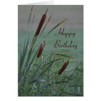 Nebelhafte Cattails-Geburtstags-Karte Karte
