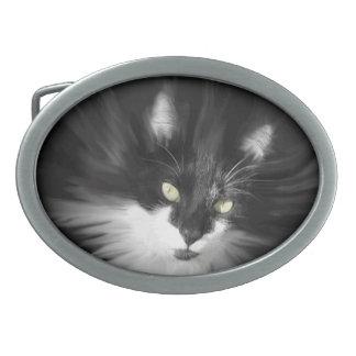 Nebelhafte Smokings-Katze Ovale Gürtelschnalle