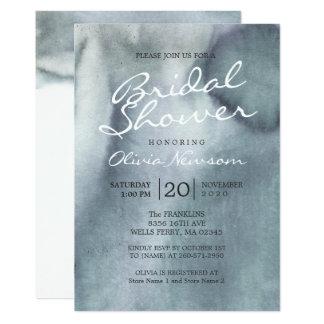 Nebelhaftes blaues Grau-Ozeanwatercolor-Brautparty 12,7 X 17,8 Cm Einladungskarte