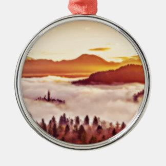 Nebelhaftes Tal Silbernes Ornament